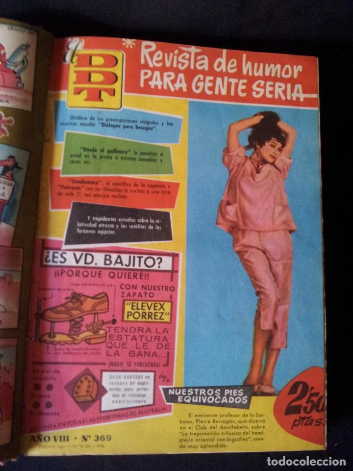 Tebeos: REVISTA EL DDT - TOMO ENCUADERNADO - AÑO VII (Nº 367) Y AÑO VIII (Nº 368 AL 399) + ALMANAQUE 1959 - Foto 3 - 145609642