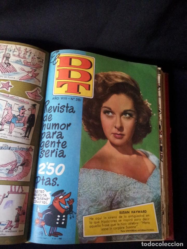 Tebeos: REVISTA EL DDT - TOMO ENCUADERNADO - AÑO VII (Nº 367) Y AÑO VIII (Nº 368 AL 399) + ALMANAQUE 1959 - Foto 4 - 145609642