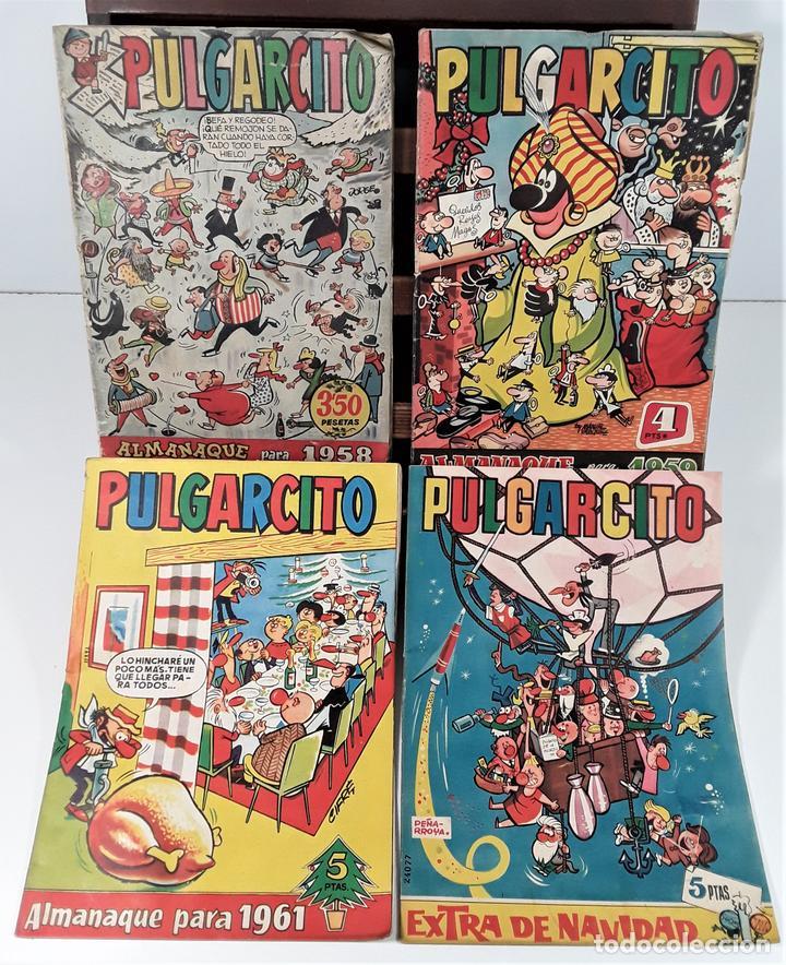 PULGARCITO. 4 EJEMPLARES. EDIT. BRUGUERA. BARCELONA. 1958/1961. (Tebeos y Comics - Bruguera - Pulgarcito)