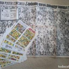 Tebeos: POSTER DÓNDE ESTÁ WALLY CON TODOS LOS CROMOS PUBLICADO ORIGINALMENTE EN LA REVISTA MORTADELO. Lote 168951780