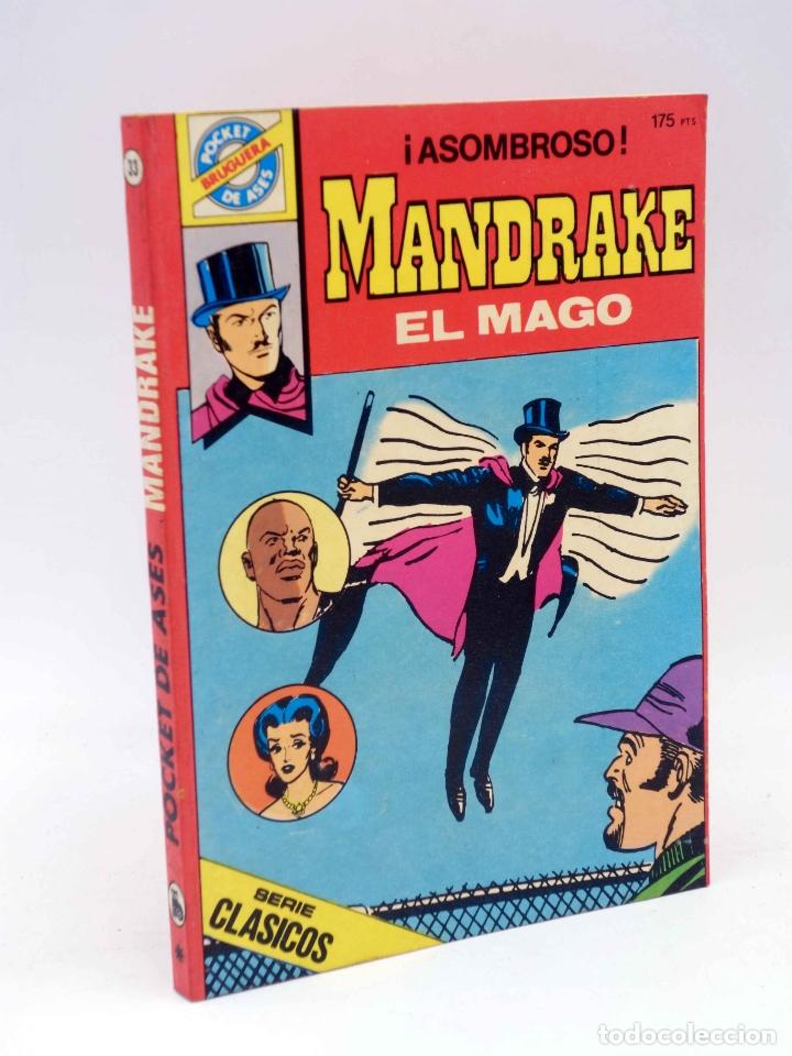 SERIE CLÁSICOS POCKET DE ASES 33. MANDRAKE EL MAGO (LEE FLAK) BRUGUERA, 1983. OFRT (Tebeos y Comics - Bruguera - Cuadernillos Varios)