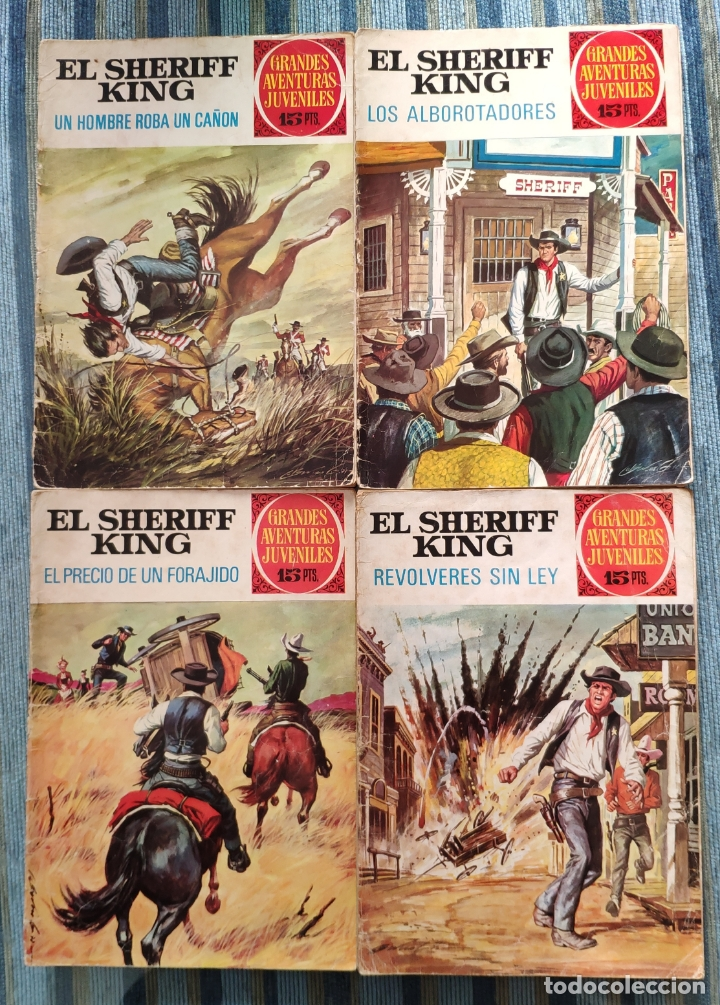 GRANDES AVENTURAS JUVENILES: EL SHERIFF KING N° 34, 36, 43 Y 59 - ANTONIO BERNAL (BRUGUERA 1972) (Tebeos y Comics - Bruguera - Sheriff King)