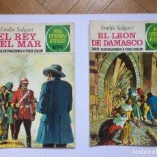 Tebeos: 2 JOYAS LITERARIAS. EMILIO SALGARI: REY DEL MAR Y LEÓN DE DAMASCO (N. 68 Y 76, 1973). 1ª EDICIÓN.. Lote 175933380