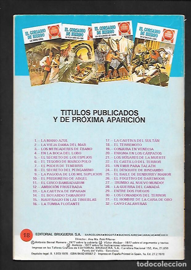 Tebeos: JOYAS LITERARIAS JUVENILES NUMERO 18 EL CORSARIO DE HIERRO EL TERREMOTO - Foto 2 - 187464195