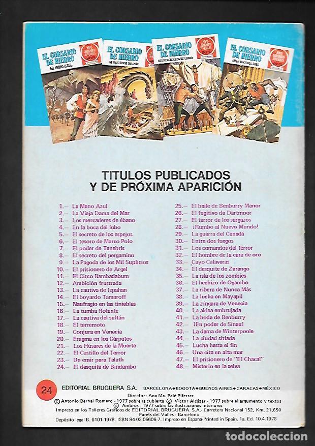 Tebeos: JOYAS LITERARIAS JUVENILES NUMERO 24 EL CORSARIO DE HIERRO EL DESQUITE DE BINDAMBO - Foto 2 - 187465477