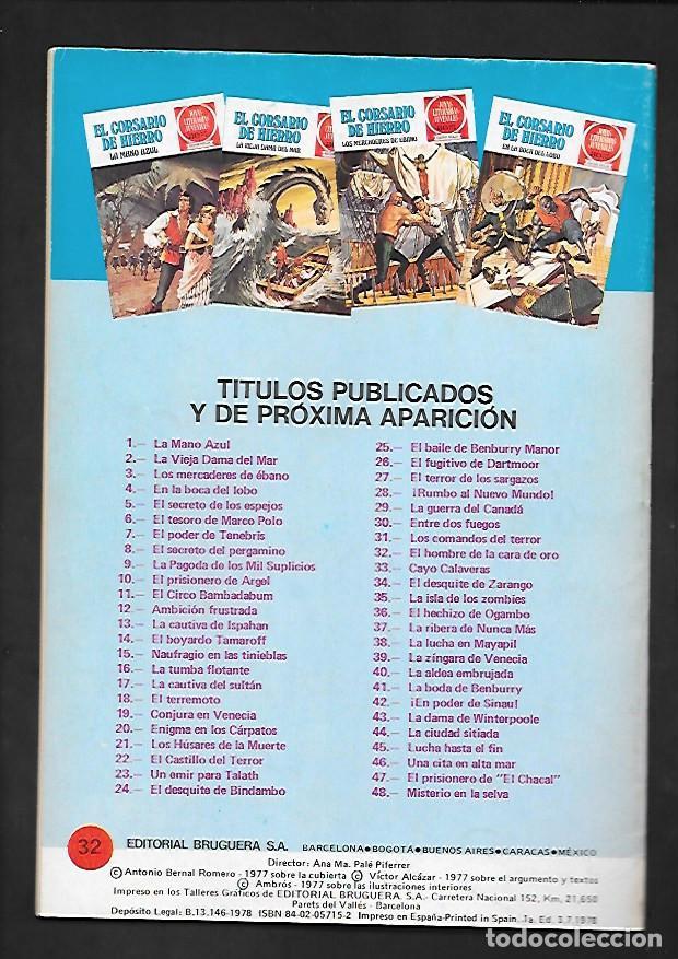 Tebeos: JOYAS LITERARIAS JUVENILES NUMERO 32 EL CORSARIO DE HIERRO EL HOMBRE DE LA CARA DE ORO - Foto 2 - 187466607