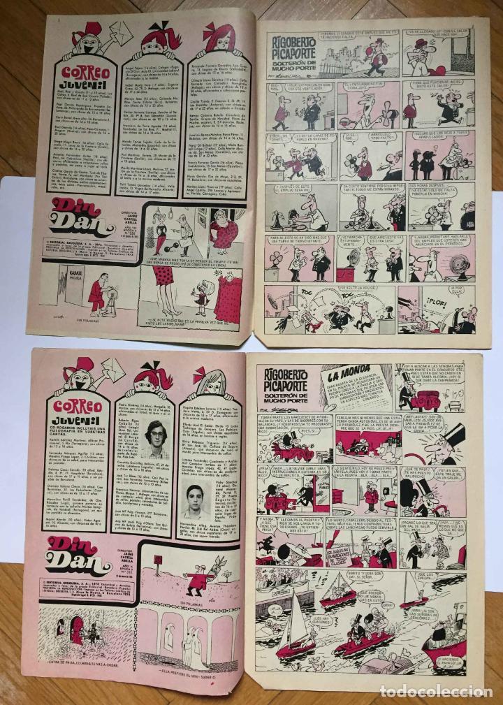Tebeos: Lote 2 tebeos: DIN DAN. Nº 286 y 310 (Bruguera, 1973-74) 1ª Edición. Originales - Foto 5 - 191927395