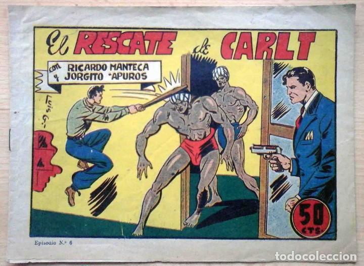 RICARDO MANTECA Y JORGITO APUROS Nº 6 EL RESCATE DE CARLT - ORIGINAL 1947 (Tebeos y Comics - Bruguera - Otros)