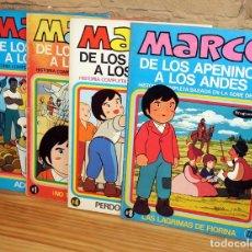 Tebeos: MARCO, DE LOS APENINOS A LOS ANDES - LOTE DE 4 COMICS - BRUGUERA. Lote 195528777
