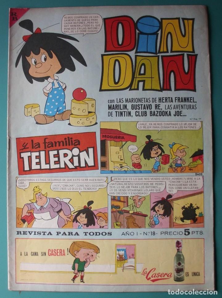 DIN DAN Nº 18 CON TINTIN , FAMILIA TELERIN, DIBUJOS DE AMBROS (Tebeos y Comics - Bruguera - Din Dan)