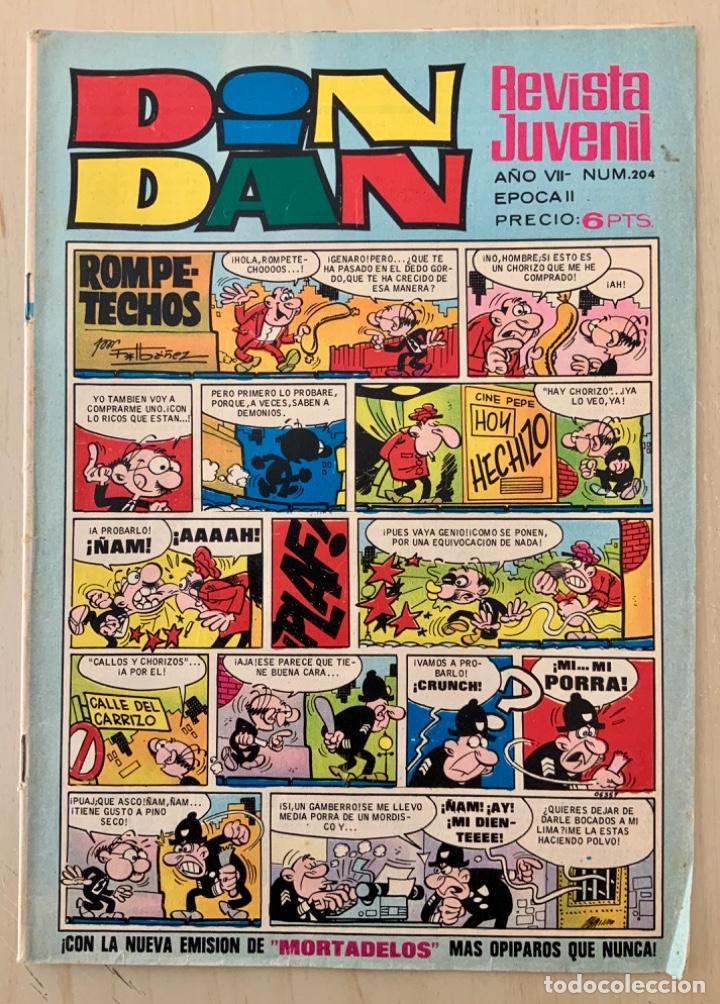 CÓMIC TEBEO DIN DAN REVISTA SEMANAL N 204 AVENTURA MICHEL TANGUY AÑO 1972 CON BILLETES MORTADELOS (Tebeos y Comics - Bruguera - Din Dan)