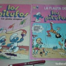 Tebeos: 2 COMICS DE LOS PITUFOS Nº 1 Y 11, LOS PITUFOS OLIMPICOS, LA FLAUTA DE LOS PITUFOS, T 10. Lote 210951411