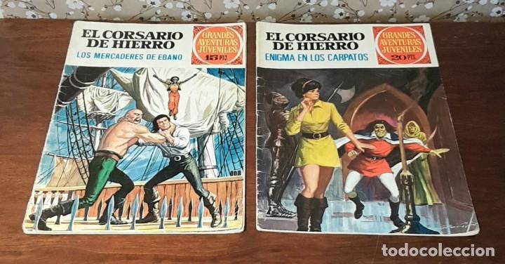 2 TEBEOS DE GRANDES AVENTURAS JUVENILES, EL CORSARIO DE HIERRO, Nº 5 Y 69, 15-20 PESETAS, 1ª EDICIÓN (Tebeos y Comics - Bruguera - Corsario de Hierro)