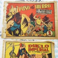 Tebeos: EL HOMBRE DE LA ESTRELLA: N.º 2 PUÑO DE HIERRO + N.º 4 DUELO IMPERIAL BORNE BRUGUERA 1947 ORIGINAL. Lote 218341690