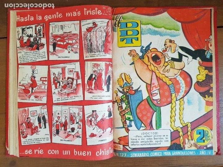Tebeos: LOTE 9 TEBEOS/CÓMIC TOMO ORIGINAL DDT ALMANAQUE 1955 (1) PULGARCITO 1955 BRUGUERA 1207-1212 TRUENO - Foto 9 - 219585306