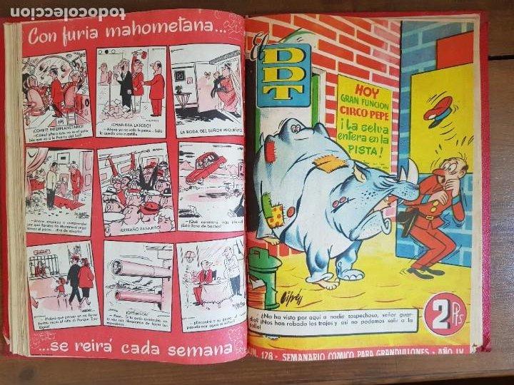 Tebeos: LOTE 9 TEBEOS/CÓMIC TOMO ORIGINAL DDT ALMANAQUE 1955 (1) PULGARCITO 1955 BRUGUERA 1207-1212 TRUENO - Foto 10 - 219585306