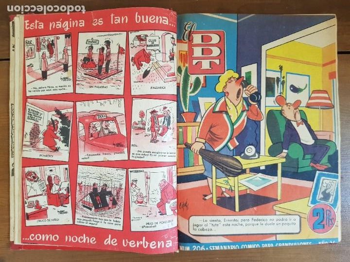 Tebeos: LOTE 13 TEBEOS/CÓMIC TOMO ORIGINAL DDT ALMANAQUE 1956 (2) PULGARCITO 1955 BRUGUERA I. DAN C. TRUENO - Foto 8 - 219586678