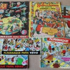 Tebeos: DDT - ALMANAQUE 1956 1958 1959 1970 1972 1976 ORIGINAL - BRUGUERA - TAMBIÉN SUELTOS. Lote 197980427