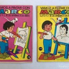 Tebeos: QUADERNO VAMOS A PINTAR CON MARCO Nº 5 (SIN COLOREAR) + Nº 3 (DEFECTOS). EDITORIAL BRUGUERA 1977.. Lote 225790590