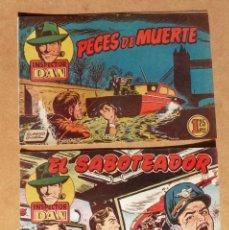 Tebeos: INSPECTOR DAN Nº 32 EL SABOTEADOR Y 54 PECES DE MUERTE. BRUGUERA 1950. ORIGINAL. Lote 226294420