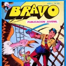 Tebeos: BRAVO PUBLICACIÓN JUVENIL Nº 63 - EL CACHORRO Nº 32 - EN LA BOCA DEL LOBO - BRUGUERA 1976. Lote 228368805