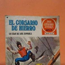 Tebeos: JOYAS LITERARIAS JUVENILES SERIE ROJA NUMERO 35, EL CORSARIO DE HIERRO LA ISLA DE LOS ZOMBIES. Lote 232919195