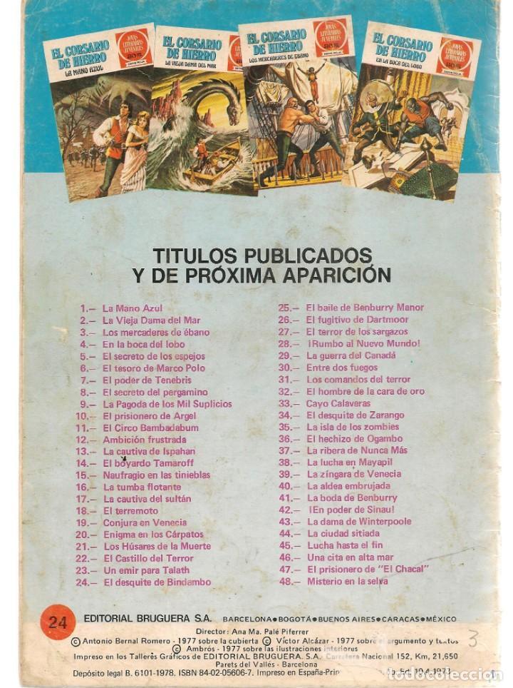 Tebeos: JOYAS LITERARIAS JUVENILES. SERIE ROJA. Nº 24. EL CORSARIO DE HIERRO. (BRUGUERA)C/A15. - Foto 2 - 233255050