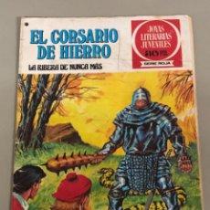 Tebeos: JOYAS LITERARIAS JUVENILES SERIE ROJA N 37, EL CORSARIO DE HIERRO-LA RIBERA DE NUNCA MÁS. Lote 236591455