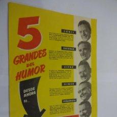 Tebeos: 5 GRANDES DEL HUMOR. FOLLETO PUBLICITARIOS LANZAMIENTO REVISTA.CONTI-ESCOBAR-CIFRE-PEÑARROYA. Lote 241484215