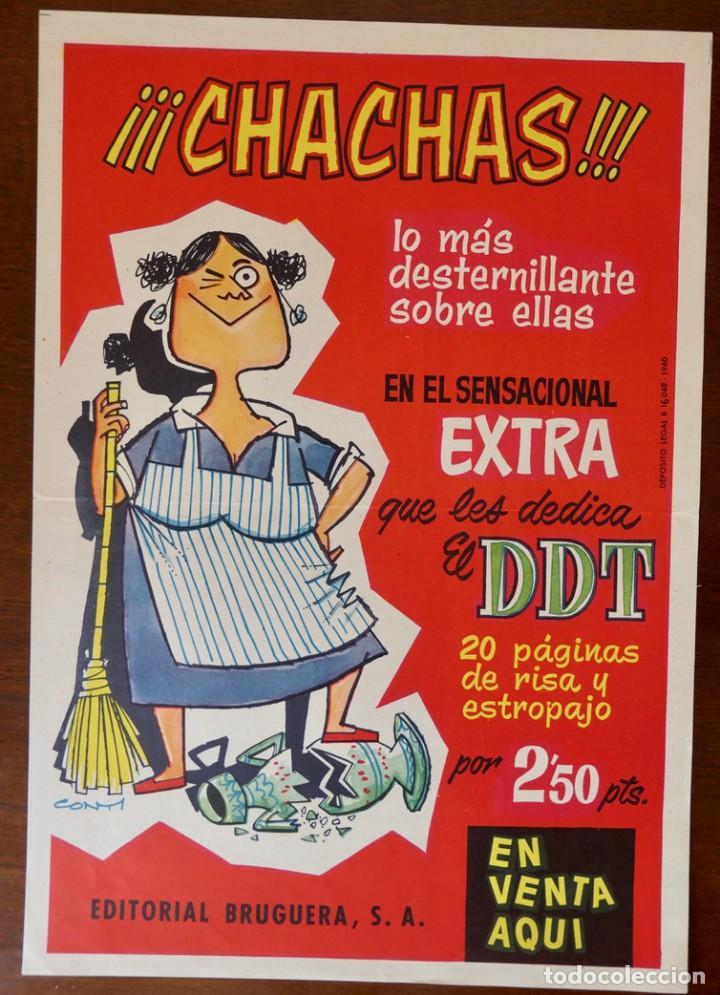 CARTEL PUBLICITARIO DEL EXTRA DE DDT DEDICADO A LAS CHACHAS (BRUGUERA, 1960) (Tebeos y Comics - Bruguera - DDT)