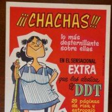 Tebeos: CARTEL PUBLICITARIO DEL EXTRA DE DDT DEDICADO A LAS CHACHAS (BRUGUERA, 1960). Lote 256013155