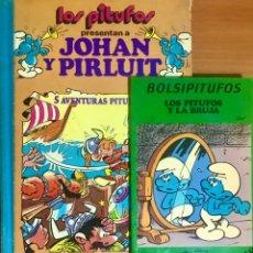 Tebeos: LOTE 2 LIBROS LOS PITUFOS 5 AVENTURAS BOLSIPITUFOS TEBEOS COMICS PRESENTAN JOHAN PIRLUIT Y LA BRUJA. Lote 262968340
