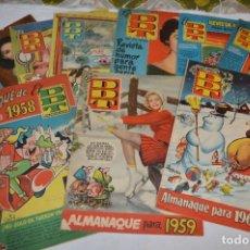 Tebeos: DDT - BRUGUERA / ORIGINAL AÑOS 50 / 60 - 3 ALMANAQUES + 6 REVISTAS/COMICS ¡MIRA FOTOS Y DETALLES!. Lote 279460793