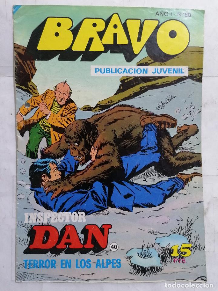 BRAVO, Nº 80, EL INSPECTOR DAN, TERROR EN LOS ALPES (Tebeos y Comics - Bruguera - Bravo)