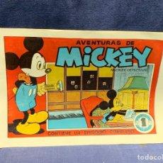Tebeos: COMIC AVENTURAS MICKEY-MICKEY DETECTIVE OCTUBRE 1945 1ªEDICION BRUGUERA NUEVO 21,5X31,5CMS. Lote 288985863
