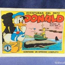 Tebeos: COMIC AVENTURAS DEL PATO DONALD APUROS EN EL MAR WALT DISNEY 1ªEDICION JULIO 1945 BRUGUERA 21X31CMS. Lote 288988398