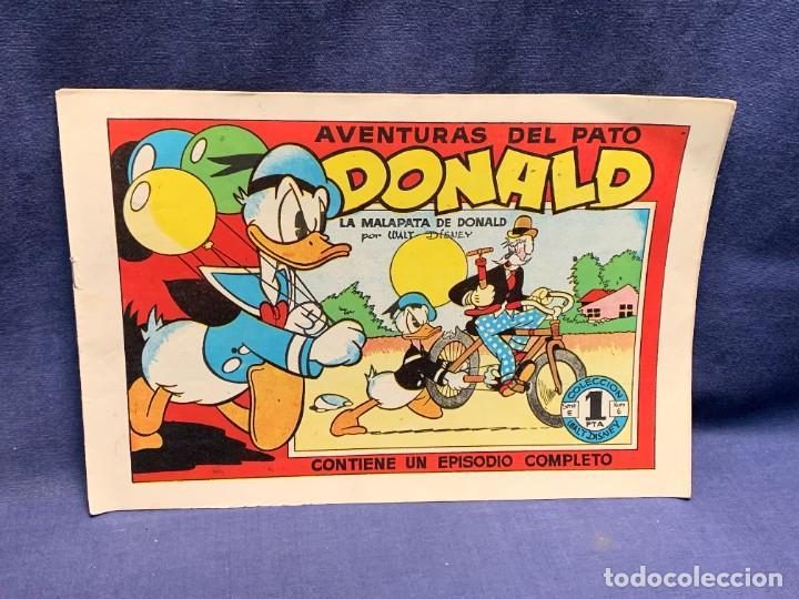 COMIC AVENTURAS DEL PATO DONALD LA MALAPATA DE DONALD WALT DISNEY 1ªEDI AGOSTO 1945 BRUGUERA 21X31CM (Tebeos y Comics - Bruguera - Otros)