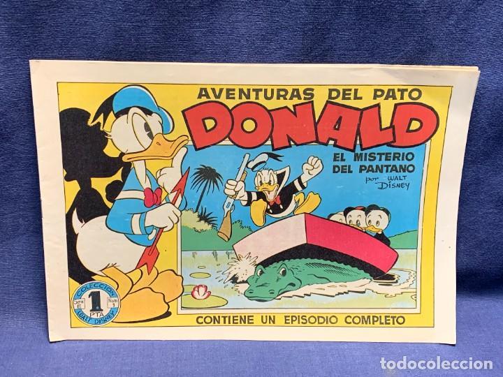 COMIC AVENTURAS DEL PATO DONALD EL MISTERIO DEL PANTANO WALT DISNEY BRUGUERA 1ªEDICION 1945 21X31CMS (Tebeos y Comics - Bruguera - Otros)