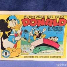 Tebeos: COMIC AVENTURAS DEL PATO DONALD EL MISTERIO DEL PANTANO WALT DISNEY BRUGUERA 1ªEDICION 1945 21X31CMS. Lote 288989758
