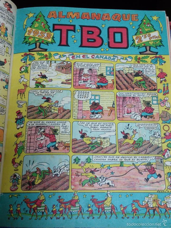 Tebeos: ESPECTACULAR LOTE DE TBO, UNOS 230 EN TOTAL APROX, 2 TOMOS ENCUADERNADOS CON LOS ALMANAQUES 1953, 19 - Foto 8 - 56713691