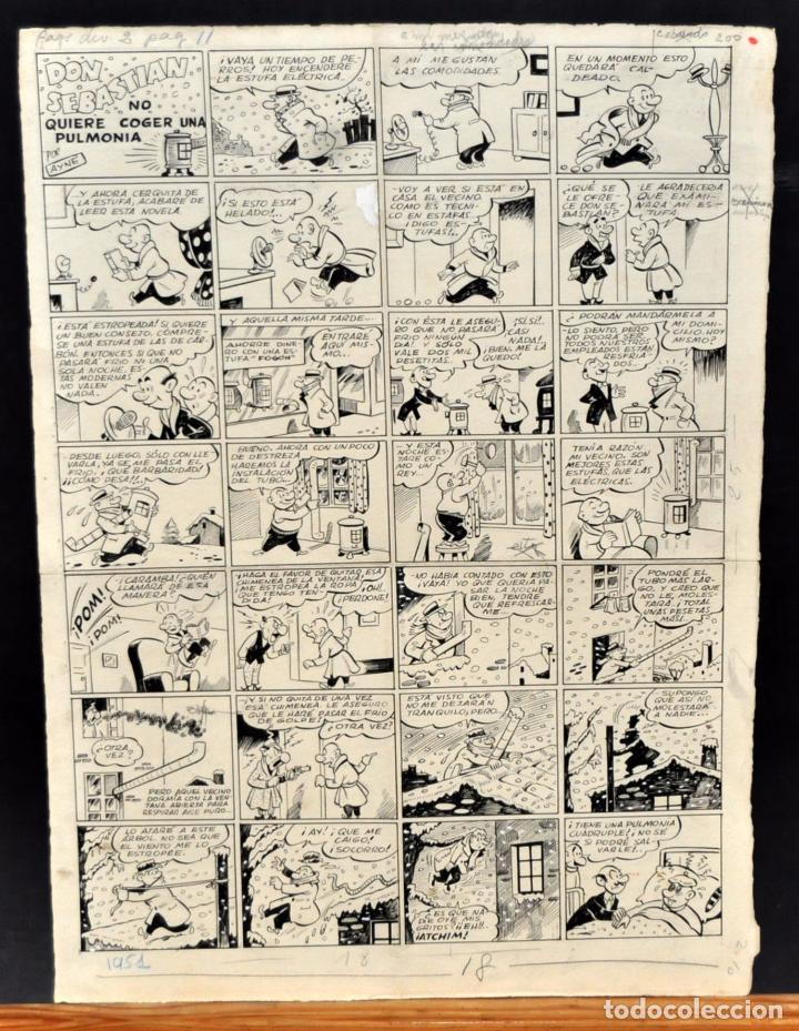 ANTONIO AYNE ESBERT (BARCELONA, 1920 - MATARÓ, 1980) DIBUJO ORIGINAL A TINTA. GRAN FORMATO. (Tebeos y Comics - Buigas - TBO)