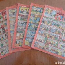 Tebeos: EDICIONES TBO. SEGUNDA ETAPA (1941-1952). ORIGINAL. LOTE DE 5 EJEMPLARES COLOR ROJO. VER LISTA. Lote 196925935