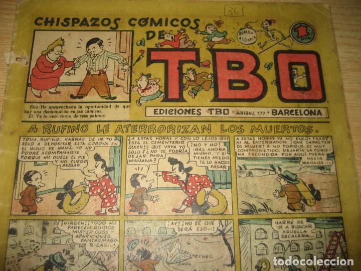 Tebeos: chispazos comicos de tbo . a rufino le aterrorizan los muertos . benejam 1946 nº 36? - Foto 3 - 259919265