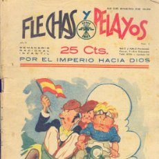 Tebeos: FLECHAS Y PELAYOS 22 ENERO 1939 NÚMERO 7 ALGUNAS ROTURAS. Lote 24605077