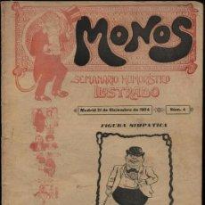 Tebeos: MONOS. SEMANARIO HUMORÍSTICO ILUSTRADO. Nº 4. AÑO 1904 (DE LAS 16 PÁGS., 14 SON DE VIÑETAS). Lote 24365154