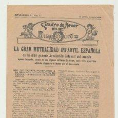 Livros de Banda Desenhada: CUADRO DE HONOR DE PULGARCITO. SUPLEMENTO AL NÚMERO 52. LA GRAN MUTUALIDAD INFANTIL ESPAÑOLA -. Lote 23366095