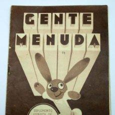 Tebeos: GENTE MENUDA SUPLEMENTO INFANTIL BLANCO Y NEGRO 8 MAYO 1932. Lote 24760800