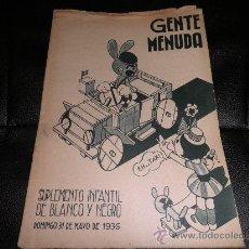 Tebeos: GENTE MENUDA, SUPLEMENTO INFANTIL DE BLANCO Y NEGRO, 31 DE MAYO DE 1936. Lote 30044232
