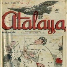Tebeos: ATALAYA SEMANARIO DE HUMOR - NÚMEROS 23 A 107 (1942/1943). Lote 31634111