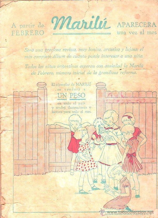 Tebeos: REVISTA ARGENTINA. MARILU. AÑO III. Nº 149. 9 ENERO 1936. EDITORIAL ATLANTIDA. LA DE LA FOTO - Foto 2 - 47485589